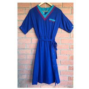 Vtg 80's Act I New York Midi Dress